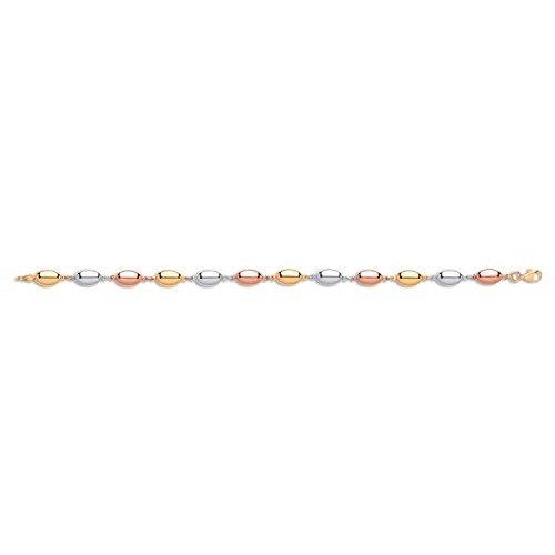Jareeya-9ct 3Couleur Rose Or blanc et jaune Perle Ovale pour femme Bracelet 4,2g