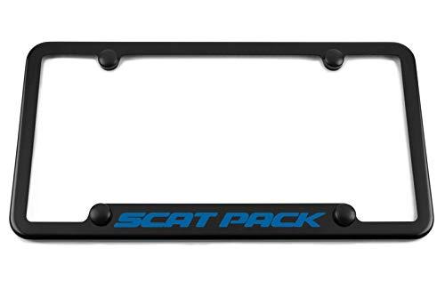 - HEM HIGH-END MOTORSPORTS Scat Pack Notched Bottom Satin Black License Plate Frame - Engraved Blue Scat Pack Logo - Challenger - Charger