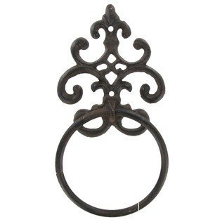Cast Iron Fleur De Lis Towel Ring Scroll