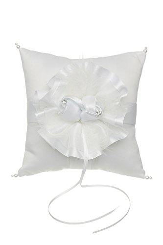 Venus Jewelry Satin Flower with Feathers Pearl Wedding Ring Bearer Pillow 7 Inch x 7 Inch - White RP006W