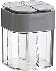 Lencyotool 4-in-1 zout- en peperstrooier leeg, 4-voudige kruidendispenser/kruidenstrooier/grillkruiden/kruidenbox - kunststof kruidenbox voor keuken camping - 8,5 x 6,5 x 6,5 cm, wit/grijs