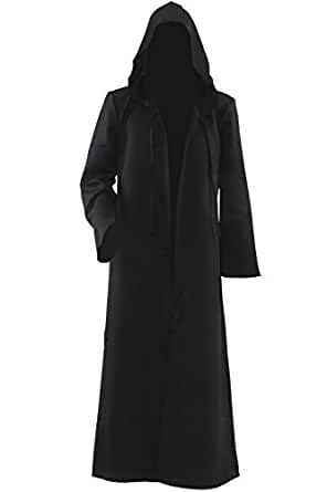 allten men 39 s costume halloween black tunic hooded robe cloak clothing. Black Bedroom Furniture Sets. Home Design Ideas
