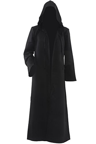 [Allten Men's Costume Halloween Black Tunic Hooded Robe Cloak XL] (Black Men Halloween Costumes)