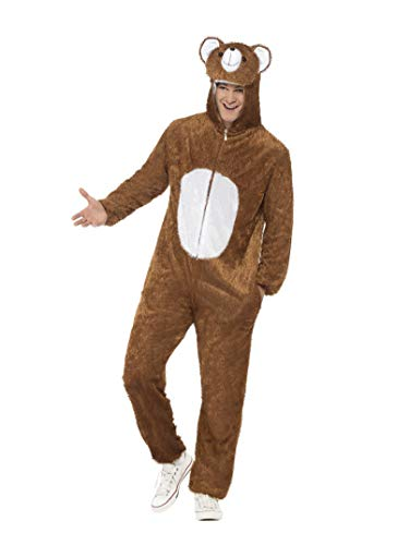 Smiffys Adult Unisex Bear Costume, Jumpsuit with Hood, Party Animals, Serious Fun, Size M, 31680 ()