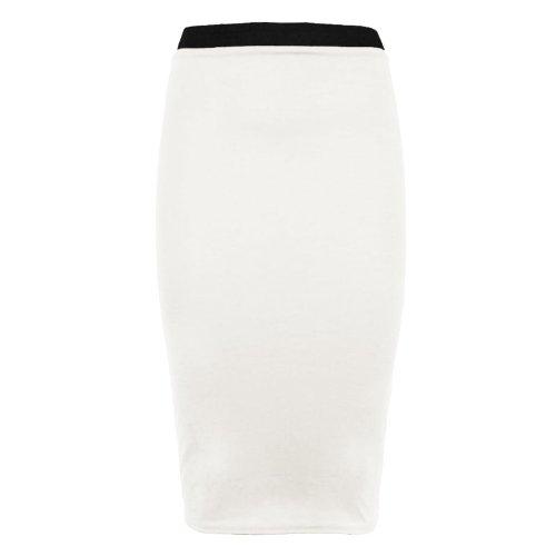 Runway Splash - Pour femme jupe crayon moulante mi-longue extensible unie pour bureau Blanc