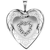 1001 Bijoux - Pendentif cassolette coeur argent rhodié