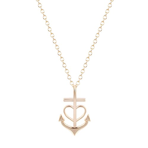 art Crystal Anchor Pendant Necklaces Women Fashion Jewelry Engagement Wedding Christmas Gift (gold) (Heart Anchor)