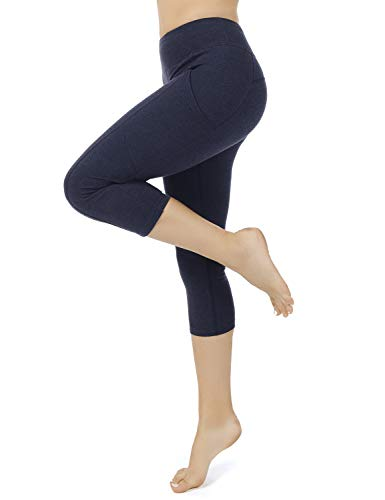 iooho Women's Yoga Capris Workout Leggings Running Capri Pants for Women with Pockets (Black,M)