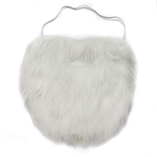 HUELE White Christmas Funny Fake Beard and Moustache for Halloween Party Costume -