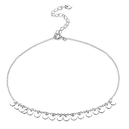 (Sllaiss S925 Sterling Silver Sequins Tassels Anklet Bracelet for Women Girls Adjustable Beach Style Dainty Foot Jewelry White Gold Plated Tiny Circle Disc Ankle)