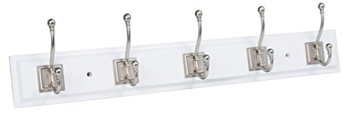 BirdRock Home Classic Hook Coat and Hat Rack | 5 Hooks| White Finish | Satin Nickel Hooks