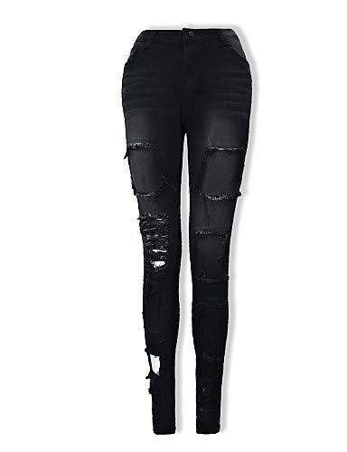 In Donna Cotone A Black Tinta Pantaloni Skinny Unita Alta Da Vita Yfltz qwSHX