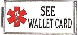 See Wallet Card White Medical Alert Italian Charm Superlink Bracelet Jewelry Link
