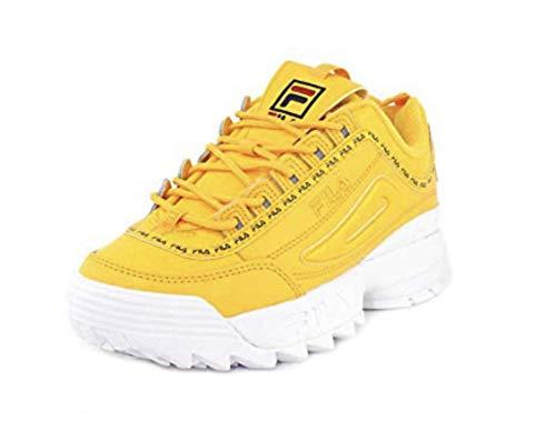 Fila Women's Disruptor Ii Premium Citrus/Fila Navy/Dry Grass Ankle-High Walking Shoe - 5M