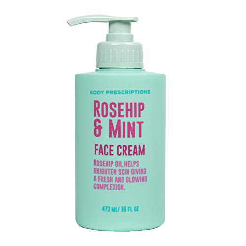 Body Prescriptions Skincare Collection- Face Cream with Rosehip and Mint, Daily Facial Moisturizer for All Skin Types, 16 OZ