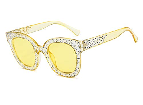 MAOLEN Oversized Sunglasses for Women Square Thick Frame Bling Rhinestone Shades (Round Yellow)