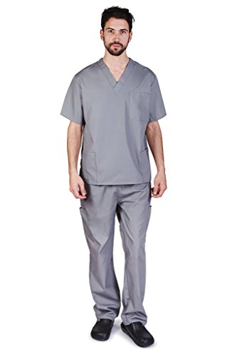 NATURAL UNIFORMS Men's Scrub Set Medical Scrub Top and Pants XXL Grey
