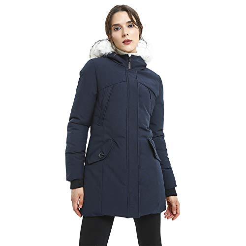 (PUREMSX Women's Hooded Winter Jacket, Outdoor Thick Down Alternative Puffer Coat with Faux Fur Collar Hood Parka Team Upper East Side Jacket Women,Navy,Medium)