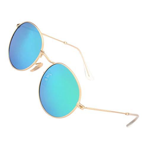 sol Dorado Vintage GQUEEN Espejo Verde Lente con Redondo protección de Marco UV400 MFP7 gafas polarizadas ySSacRHq7