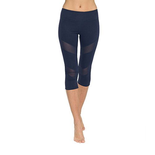 ONGASOFT Womens Mesh Yoga Pants Capri Mesh Leggings Stretch Running Tights Workout Pants with Hidden Pocket(Navy, M) (Danskin Now Womens Performance Capris With Mesh Detail)