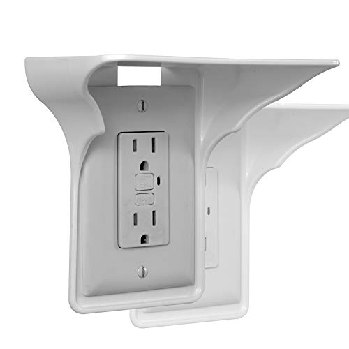 Storage Theory | Power Perch | Ultimate Outlet Shelf | Easy Installation, No Additional Hardware Required | Holds Up to 10 lbs | White Color | 2 Pack - vapecentral.us