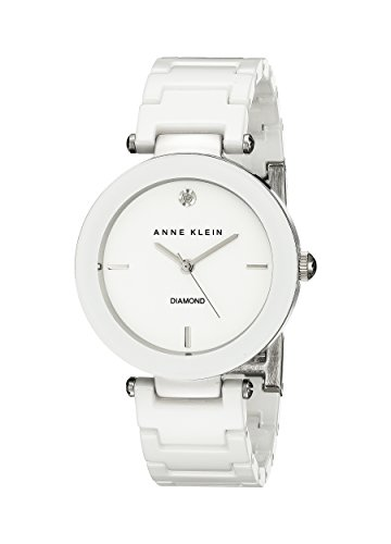 Diamonds White Dial (Anne Klein Women's AK/1019WTWT Diamond-Accented Watch with Ceramic Bracelet)