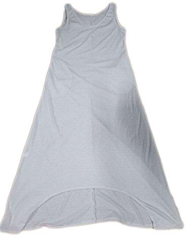 Jaycargogo Femmes V Manches Cou Solide Réservoir Lâche Longue Robe Blanche