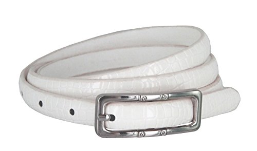 Skinny Alligator Embossed Leather Casual Dress Belt with Buckle for Women 7015 (White, Small)