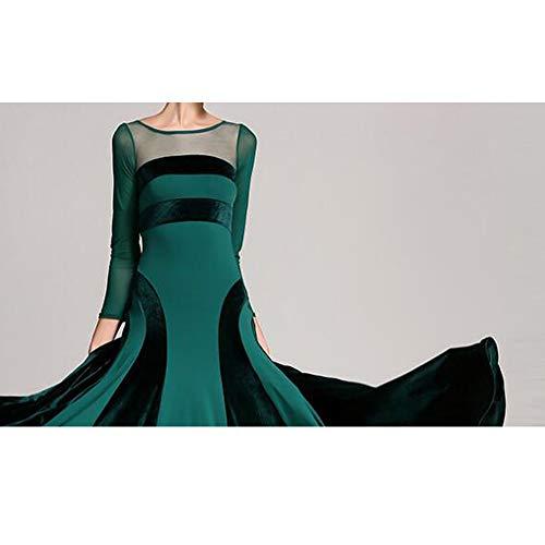 2xl Stampe Sociale m Xl Top Grandi Verde Filato Danza Latino Pancia Concorrenza Cpdz Voluminoso Dimensioni Costume Donne Floreale Net Gonna Vestito Hfppqw