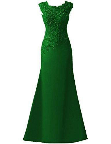 di paillettes fine Formale Applique Ballo da HUINI da Raso Verde festa pieghe Vestiti sera anno scuro Abiti Lungo qfxHXwqg