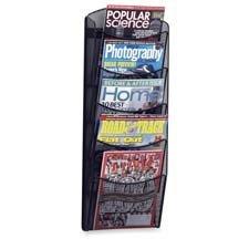 Mesh Magazine Rack,5-Pockets,10-1/4''''x3-1/2''''x28-1/3'''',Black, Sold as 1 Each
