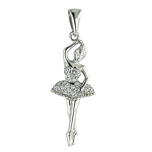 (925 Solid Sterling Silver Cubic Zirconia Dancing Ballerina, Ballet Pendant/Charm for Necklace or Bracelet  )