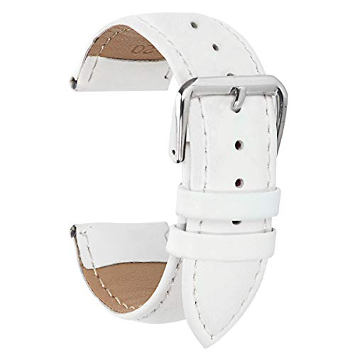 Sport Watch Leather Band White 17mm Watch Band Braclet 17mm for Womens Leather Watch Band -