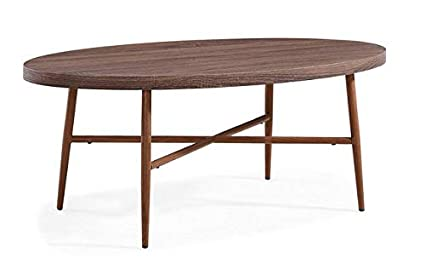 Amazon Com Wood Coffee Table With Tubular Metal Legs Oval Coffee