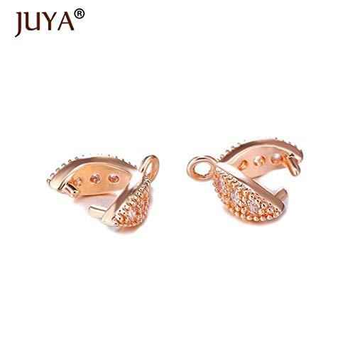 Agate Copper Pendant - Laliva Jewelry Findings DIY Parts Accessories Crystal Agate Pendant Clasp Connectors Copper Pinch Clip Bail Link Pendants Clasps - (Color: Rose Gold, Size: 8 Pieces)
