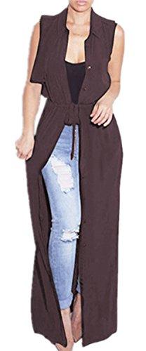 Blansdi Damen Chiffon Cardigan Cover up Tops Bluse Lose Langarmshirt Elegant Sommer Maxi Offene Mantel Outwear Party Cocktail Strandkleid mit Gürtel Braun
