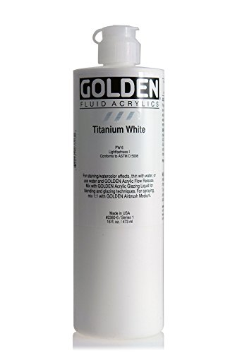 Golden Acrylic Paints - 3M 0002380-6 Golden Artist Fluid Acrylic Colors, 16 oz, Titanium White