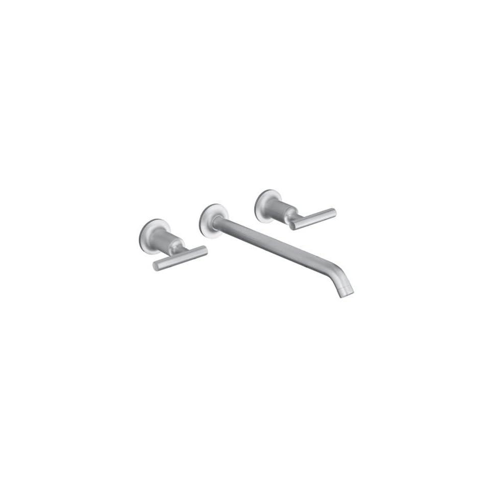 Kohler Purist Brushed Chrome Wall Mount Bathroom Sink Faucet, 10 1/4 Spout+Cylinder Lever Handles