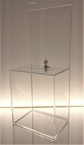 Dazzling Displays Clear Large Acrylic Donation Box with Cam Lock and (2) Keys - Large Display Case