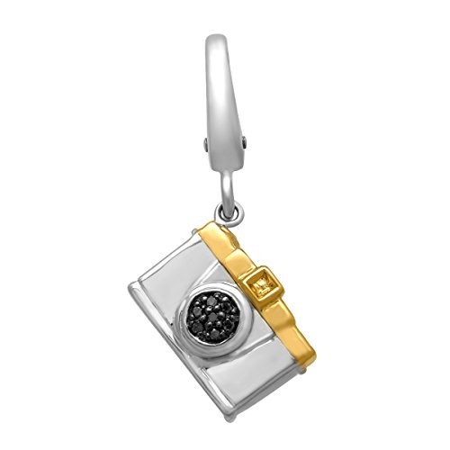 (Camera Charm with Brown Diamonds in Sterling Silver & 14K Gold )