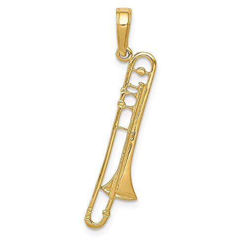 14k Yellow Gold Trombone Pendant Charm Necklace Man Musical Instrument Fine Jewelry Gift For Dad Mens For Him