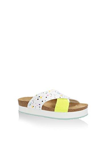 Desigual Bio 10 Megar - Sandalias de plataforma Mujer Blanco / Amarillo