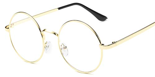 Lovef Large Oversized Metal Frame Clear Lens Round Circle Vintage Eye Glasses 5.42inch ()