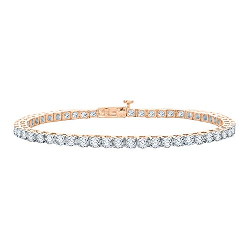 - KATARINA Diamond Tennis Line Bracelet in 14k Rose Gold (20 cttw, G-H, VS2-SI1)