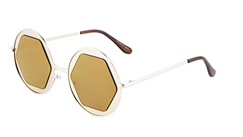 Metal Rimmed Round Sunglasses Mirrored Flat Geometric Lens (Gold, - Glasses Tom Cruise
