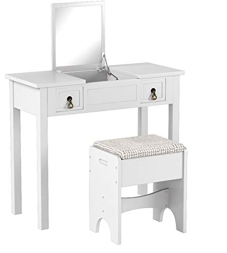 7519ac17c110a SONGMICS Vanity Set with Flip Top Mirror Makeup Dressing Table Writing Desk  with 2 Drawers Cushioned