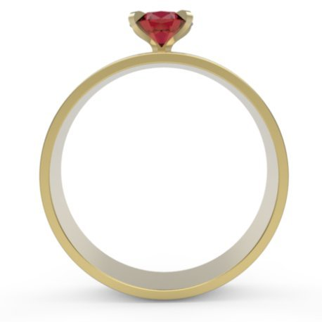 FLORA Bagues Or Blanc 18 carats Rubis Rouge 0,6 Rond