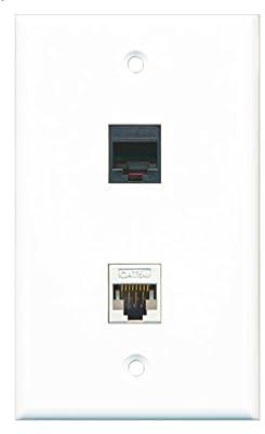 RiteAV - 1 RJ11 RJ12 Black Phone Port and 1 Cat5e Ethernet Port Wall Plate