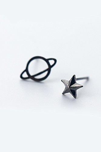 Generic S925 sterling silver stud earrings women girls lady simple solar cosmic personality asymmetrical earrings black pentagram earrings