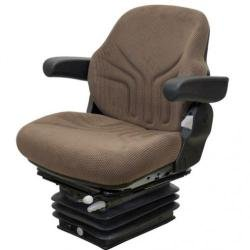 Seat Assembly - Air Suspension with Armrests, Fabric, Brown, JD DLX Late 30-55 Suspension, (Dlx Air)
